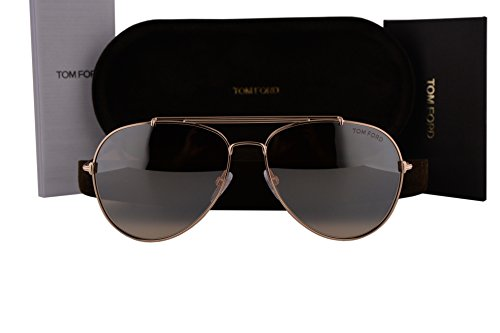 Tom Ford FT0497 Indiana Sunglasses Gold w/Light Brown Gradient Lens 28Z TF497 - Ford Prescription Sunglasses Tom