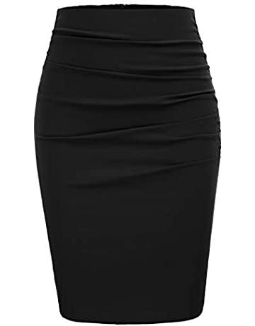 2e9152768daec8 GRACE KARIN Women Vintage Solid Color Ruched Front Midi Bodycon Work Skirt  CL866