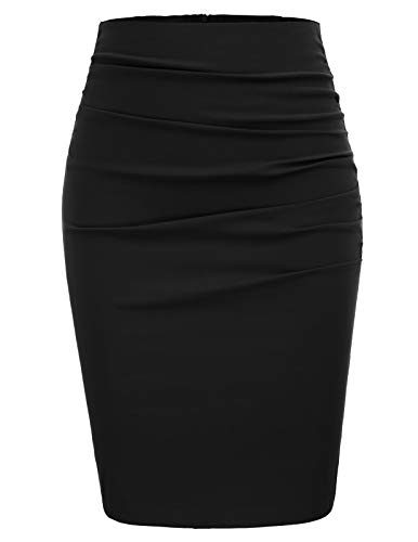 Women Vintage Solid Color Ruched Front Bodycon Pencil Skirt Size - Skirt Black Pencil Dress