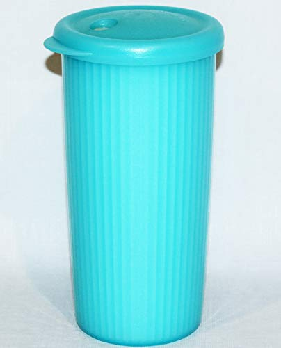 (Tupperware Insulated Tumbler 24 Ounce Cup with Dripless Straw Seal Caribbean Blue)