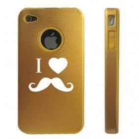 Apple iPhone 4 4S 4 Gold D2841 Aluminum & Silicone Case Cover I Heart Love Mustache