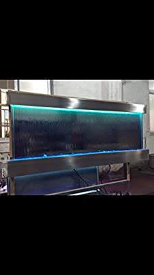 """Wall Waterfall XXL 60""""x26"""" Water Fountain St. Steel ,Mirror Glass, Color Lights Remote Ctrl Sale"""
