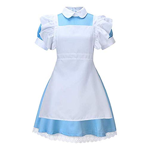 King Ma Women's Fancy Maid Dress Costume Halloween Cosplay Outfit with Apron Blue -