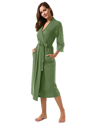 SIORO Women's Kimono Robes Cotton Lightweight Robe Long Knit Bathrobe Soft Nightgowns Sleepwear V-Neck Ladies Nightwear Olive Green M