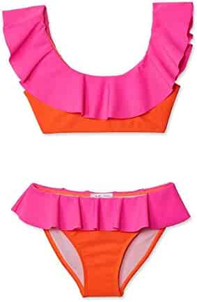 b2accd0798 Stella Cove Little Girls Neon Pink Orange Ruffled 2 Pc Bikini Swimsuit 4-6