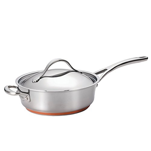 - Anolon Nouvelle Copper Stainless Steel 3-Quart Covered Saute Pan with Helper Handle