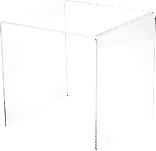 """Plymor Brand Clear Acrylic Square Riser, 7"""" H x 7"""" W x 7"""" D (1/8"""" Thick)"""
