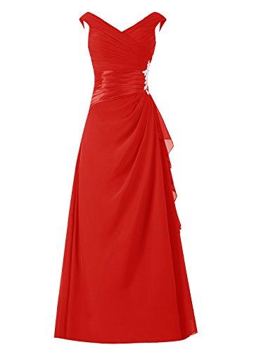 sans col de Dresstells mre Rouge soire manches robe d'honneur de en de longue robe marie de robe demoiselle V PrxZqzP