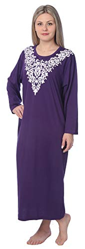 Women Jersey Long Nightgown Long Sleeve Elegant Loose Printed Dress NG03_Y18 Purple ()