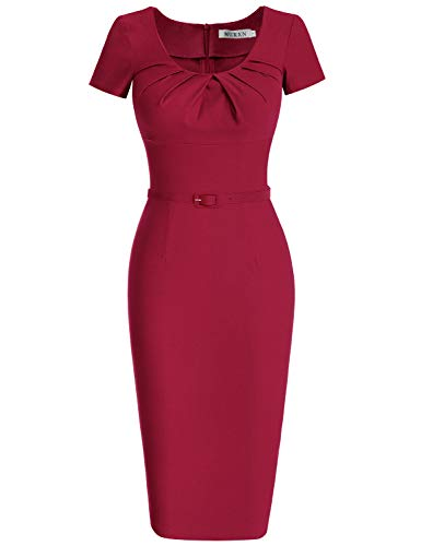 (MUXXN Women's Pure Ruched Neckline Fitted Evening Party Dress (2XL Burgundy))