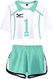 PandaOne Basic Haikyuu!! T-Shirt Suit Volleyball Sports Crop Tops and Shorts Japanese Anime Tracksuits