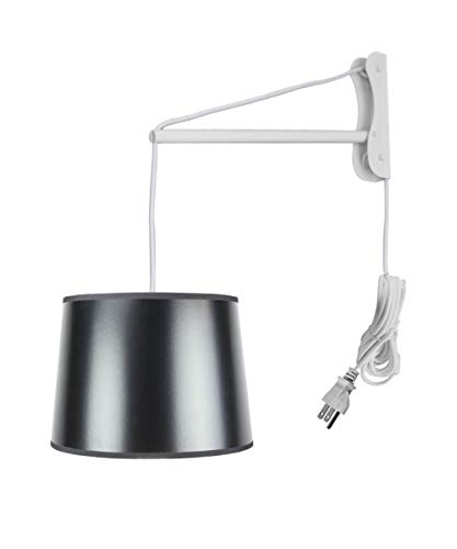 MAST Plug-in Wall Mount Pendant, 2 Light White Cord/Arm with Diffuser, Black Gold-Lined Shade - Base Black Shade Brass Parchment