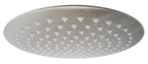 Round Ultra Thin Rainfall Shower Head, Brushed Stainless Steel ()
