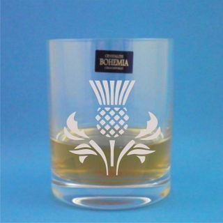 Crystal Thistle - Pair of Bohemia Crystal Whisky Glasses With Scottish Thistle Design with gift box - Includes Engraving up to 30 Characters