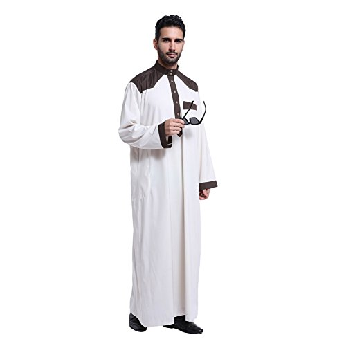 [Cocohot New Color Muslim Dress Up Men's Abaya Islamic Robes Long Distance Middle Eastern Arabian Tunic Islamic Robes] (Dress Up For Men)