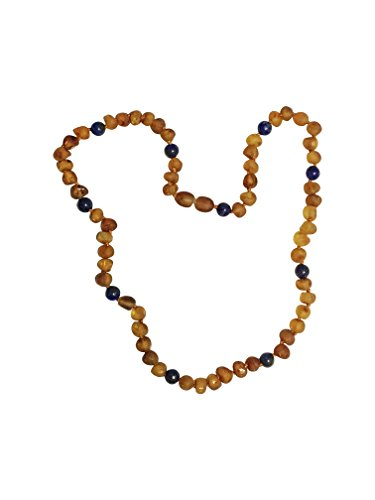 FOCUS RAW Baltic Amber Adult Necklace - 18 inches long - Anti-inflammatory - Natural Pain Relief for Carpel Tunnel, Headaches and Migraines (Raw Cognac and Lapis)