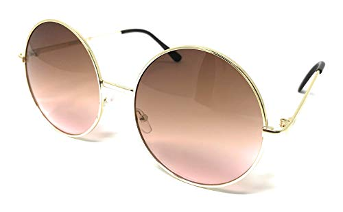 (WebDeals - Hippie Retro Super Large Oversized Metal Round Circle Sunglasses... (Gold, Tan to Pink))