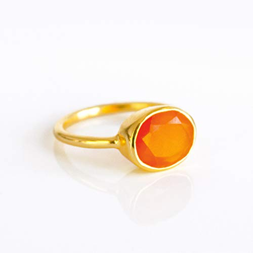 Carnelian ring, stackable ring, Vermeil Gold or silver, bezel set ring, oval ring, Orange gemstone ring, Birthstone (18k Carnelian Ring)
