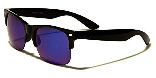 Mirozi Unisex Black Half-Rimmed Wayfarer 55MM Colored Mirror Lens Retro Sunglasses (Black, - Aluminium Clubmaster