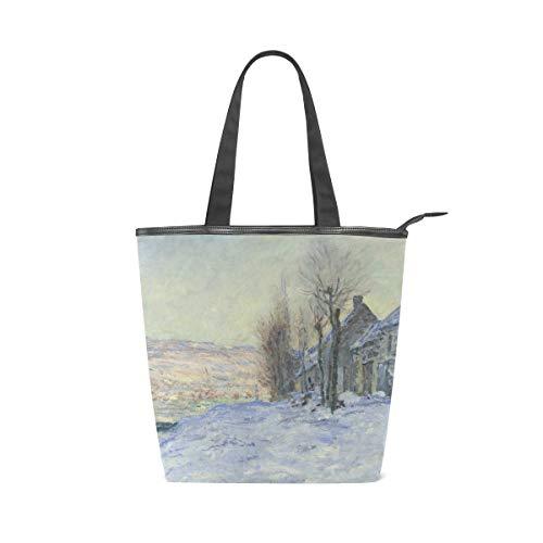 (AHOMY Women Handbag Claude Monet's Lavacourt Under Snow Tote Bag Top Handle PU Leather Shoulder Purse)