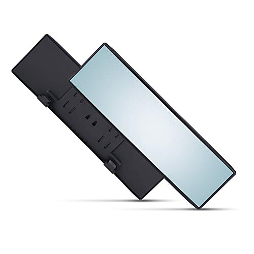 Universal 12 Inch Interior Clip On Panoramic Rearview Mirror - Blue Tint - Wide Angle - For use in Car, SUV, Truck