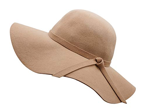Bienvenu Women's Wide Brim Taupe Solid Color Wool Floppy Hat Camel]()
