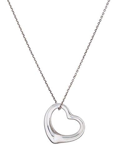 Open Heart Designer Pendant (Designer Inspired Silver Plated Open Heart Pendant Chain Necklace (Fine Link)
