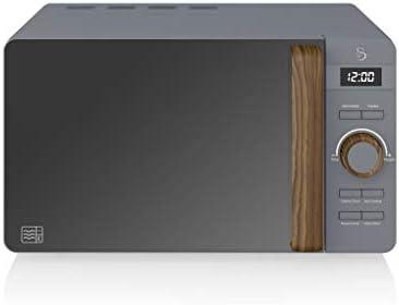 Swan Nordic – Microonde digitale, 20 l, 6 livelli di funzionamento, 800 W, timer 30 min, facile da pulire, modalità scongelamento, design moderno, maniglia effetto legno, grigio opaco