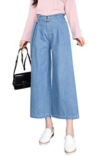 Zonsaoja Vaqueros De Pierna Ancha para Mujer Pantalones Vaqueros Sueltos Banda Elástica con Cinturón Azul