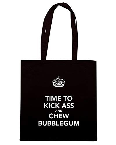 CHEW KICK Shopper Borsa ASS Nera TIME TO TKC1499 BUBBLEGUM AND wgqxTBf8q