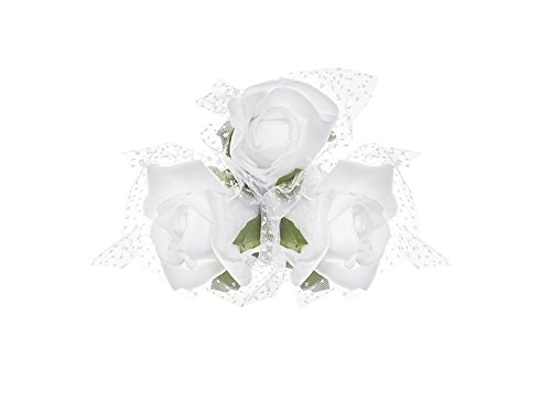 PartyDeco Bouquet 4 Rose con Tulle, Colore Bianco, KWR4-008