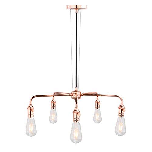 - Phansthy Spider 5-Light Indoor Chandelier Pendant Light Fixture, Copper Finish
