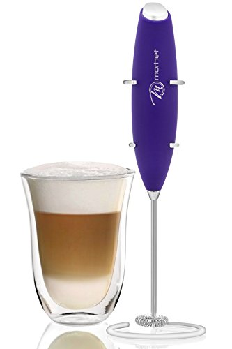 Electric Milk Frother, Handheld Battery Operated, Mixer For Drinks - Foam Maker For Coffee - Stainless Steel Whisk With Stand