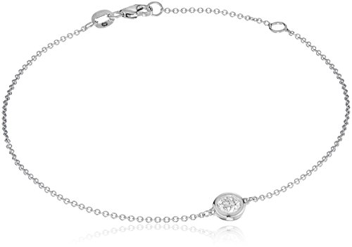 14k White Gold Solitaire Bezel Set Diamond with Lobster Clasp Strand Bracelet (1/4cttw, J-K Color, I2-I3 - Gold Solitaire Diamond White