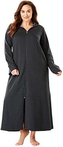 Dreams & Co. Women's Plus Size Hooded Fleece Robe