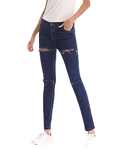 Femmes Skinny Dchir Jeans Pantalon Stretch Slim Fit Denim Crayon Pantalons Bleu Fonc