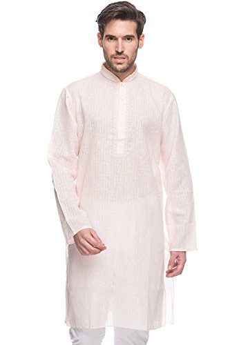 Shatranj Men's Indian Long Kurta Tunic Embroidered Placket Checkered Shirt; Natural; MD by Shatranj