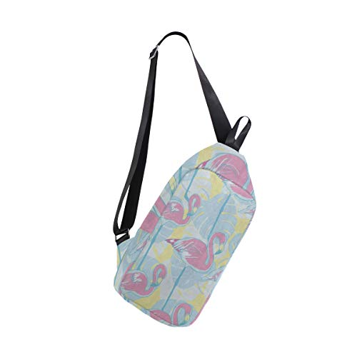 Sling Bag Palm Tree Leaves Flamingo Bird Tropical Womens Chest Shoulder Backpacks Crossbody Military Bag Pack