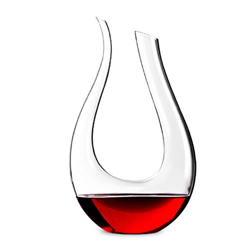 - Garwarm U-Shaped Hand-Blown 100% Lead-Free Crystal Glass Classic Red Wine Decanter/Pourer/Carafe/Accessories with Elegant Gift Box,Make Wine Taste Smoother (Clear)