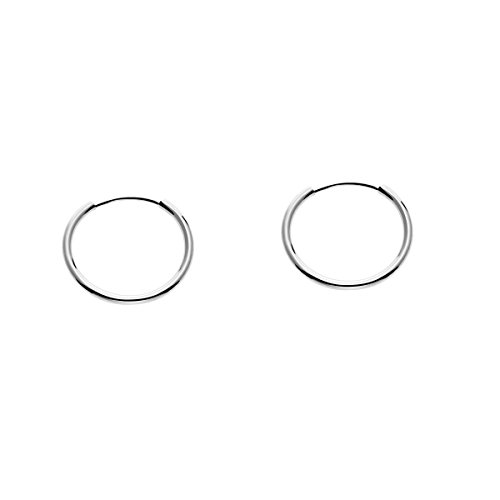 14k White Gold Round Flexible Thin Continuous Endless Hoop Earrings, Unisex (12mm, white-gold)