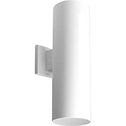 (Progress Lighting P5642-30 6-Inch Up/Down Cylinder with Heavy Duty Aluminum Construction and Die Cast Wall Bracket, White)