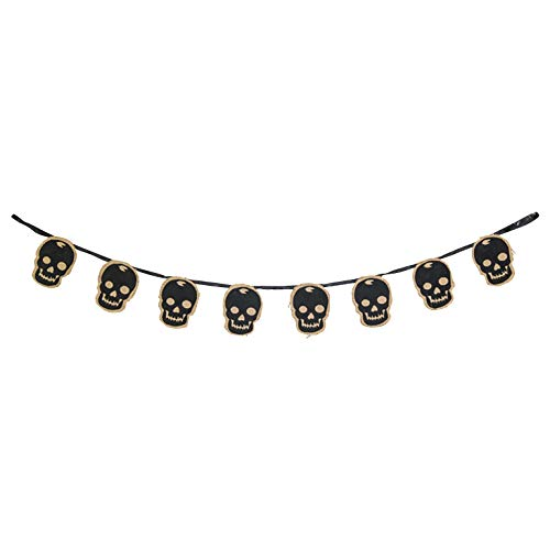 Hanna's Handiworks Spooky Midnight Black Skull 44 x 4 Inch Burlap Decorative Halloween Hanging ()
