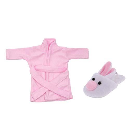 kesoto Pijamas Lindos De Albornoz Y Zapatillas De Felpa Para Muñecas Americana De 18 Pulgadas Accs