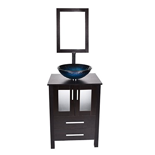 - 24-Inch Bathroom Vanity, Modern Stand Pedestal Cabinet, Wood Black Fixture with Mirror, Ocean Blue Tempered Glass Sink Top with Single Faucet Hole