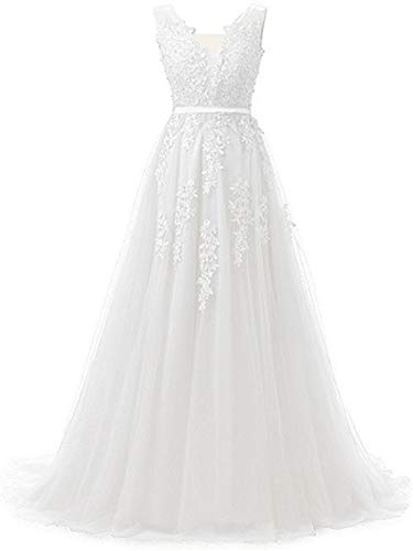 Huifany Sexy Deep V Neck Applique Beaded Tulle Long Formal Prom Gowns White,6