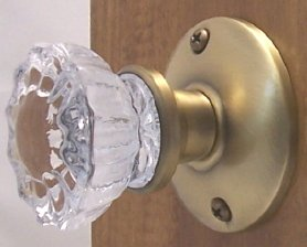 Two Crystal Antique Replica Surface Mount Single Dummy/French Door Knob  Sets For One Side