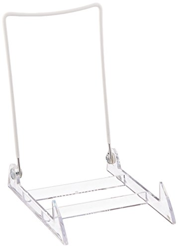 Gibson Holders 4PL-12 Gibson Display Stand / Easel with clear Base & White Wire (Item #4Pl) - 12 Pack - 1a Plate