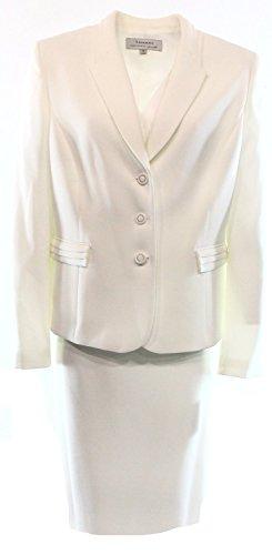 Tahari by ASL Women's 3-Button Crepe Skirt Suit Set, Pearl White, 2P (Tahari Asl 3 Button)