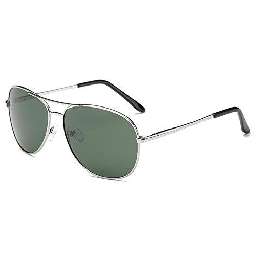 hibote Homme Eyewear Femme Polaris¨¦ Lunettes de soleil Driving Glasses UV400 Argent Cadre/Green