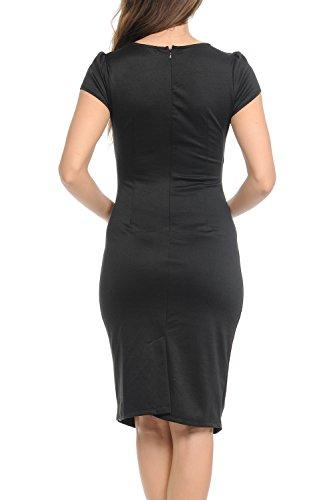 Wrap Auliné up Work Black Womens Career Zip Neck Side Office Dress Sheath V Collection vfqRfAa